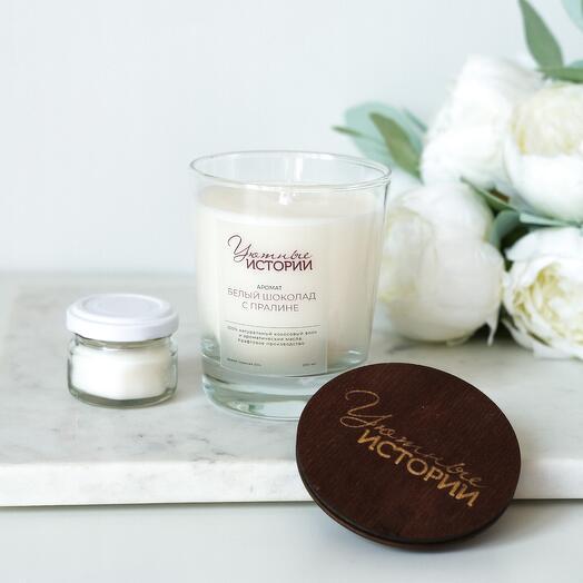 Ароматическая свеча с ароматом белого шоколада с пралине 200 мл + минисвеча в подарок
