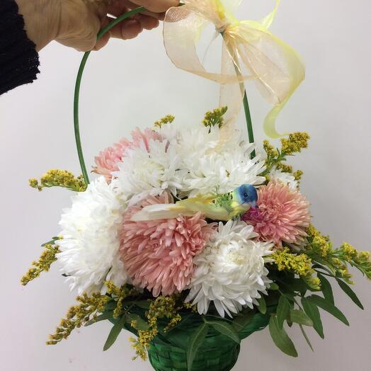 Basket with asters