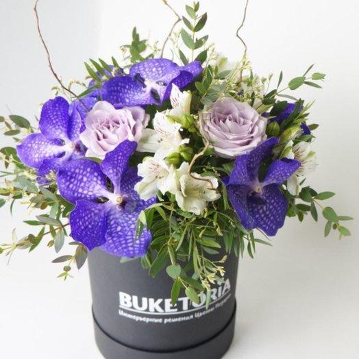 Стильный аквабокс букетория с орхидеями: букеты цветов на заказ Flowwow
