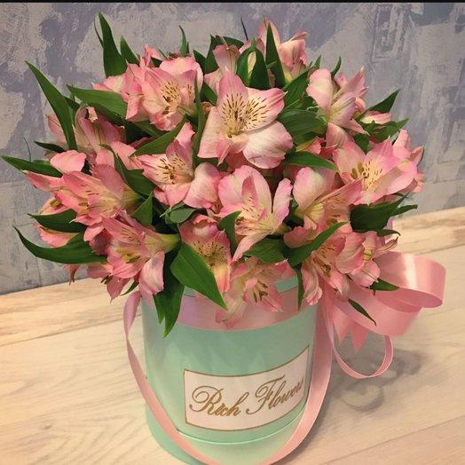 Коробочка из Розовых Альстормериц: букеты цветов на заказ Flowwow