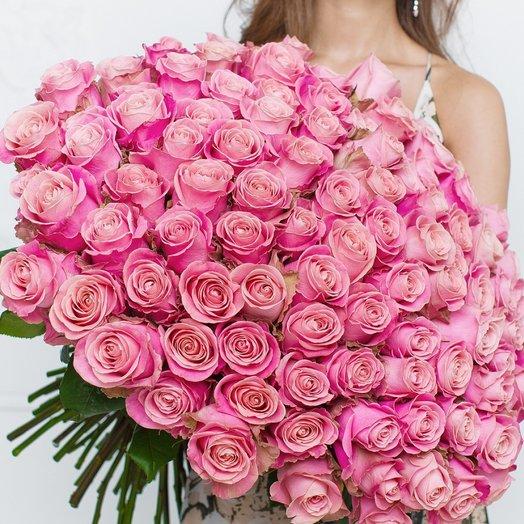 101 Нежно-Розовая Эквадорская Роза 80см: букеты цветов на заказ Flowwow