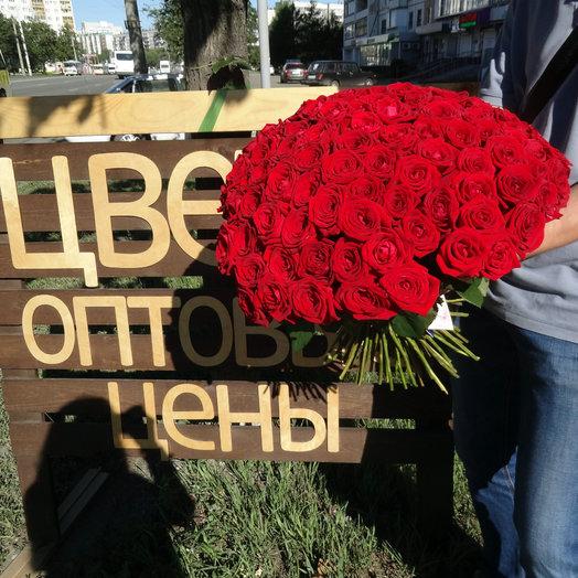 101 роза Россия 50 см: букеты цветов на заказ Flowwow