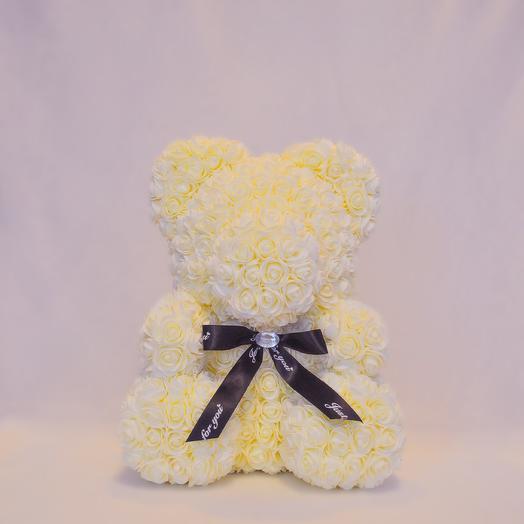 Мишка из роз RozaRose Шампань - 40 см: букеты цветов на заказ Flowwow