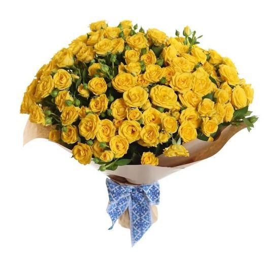 Букет из 21 кустовой желтой розы: букеты цветов на заказ Flowwow