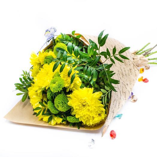 """Букет из 7 хризантем """"Полет бабочки"""": букеты цветов на заказ Flowwow"""