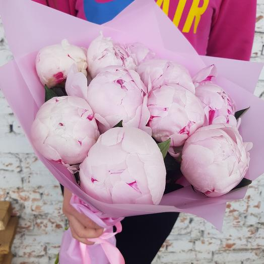 Букет из 11 розовых пионов: букеты цветов на заказ Flowwow