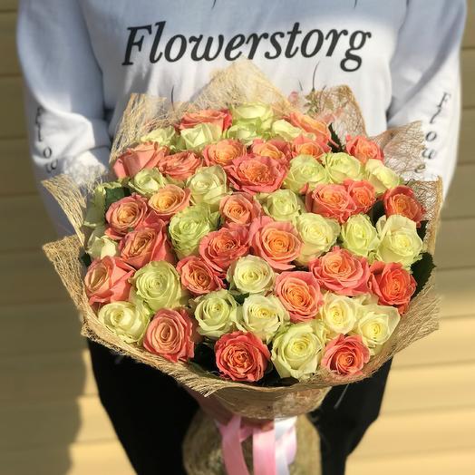 Розы. Букет из 51 розы. Микс. N617: букеты цветов на заказ Flowwow