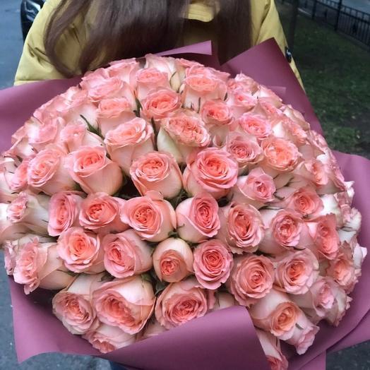 Букет из 101 персиковый розы: букеты цветов на заказ Flowwow