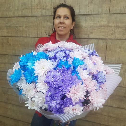 Необыкновенная хризантема в большом букете: букеты цветов на заказ Flowwow