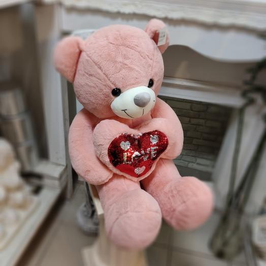 Розовая мишка с сердцем