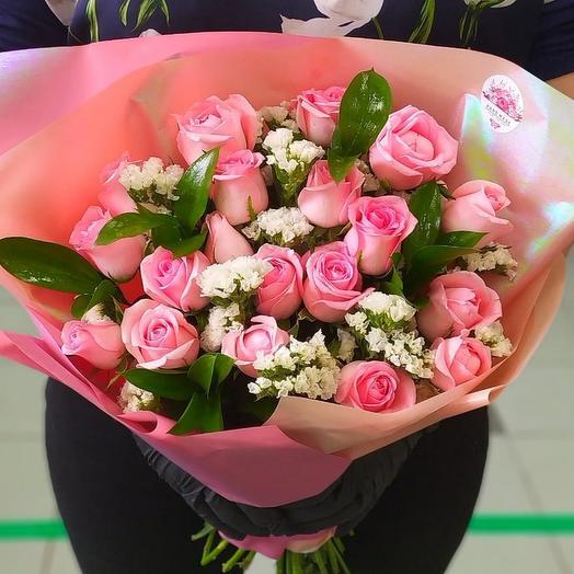 Нежная композиция из роз: букеты цветов на заказ Flowwow