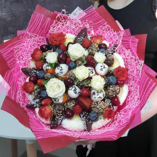 Крафт букет из фруктов с цветами