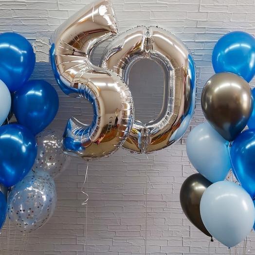 Гелиевые шары фонтаны с двумя цифрами