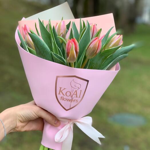Моно из 15 розовых тюльпанов