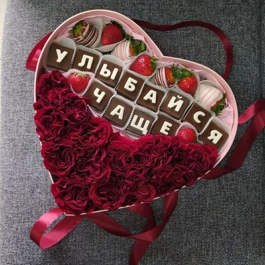 Цветы в коробке + шоко буквы 🔤