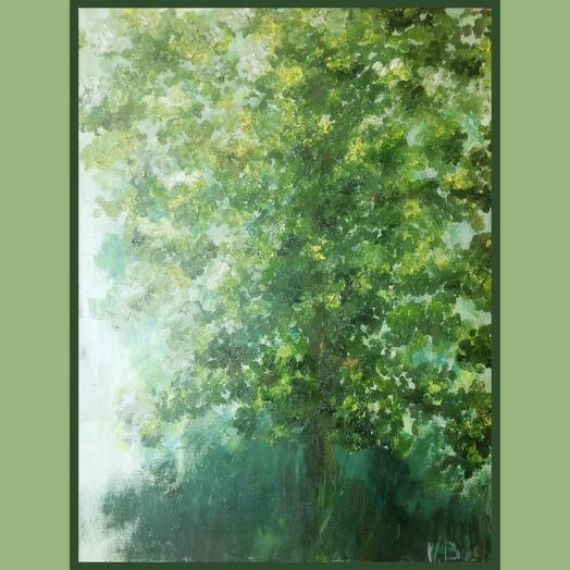Apple tree. Green canvas