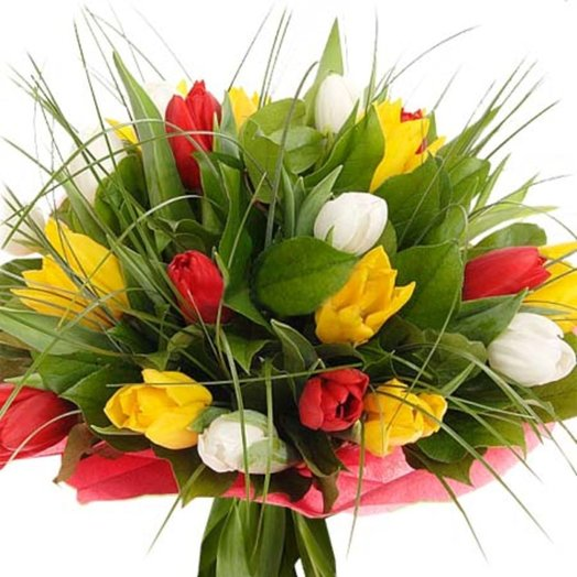 Букет из тюльпанов Карнавал: букеты цветов на заказ Flowwow