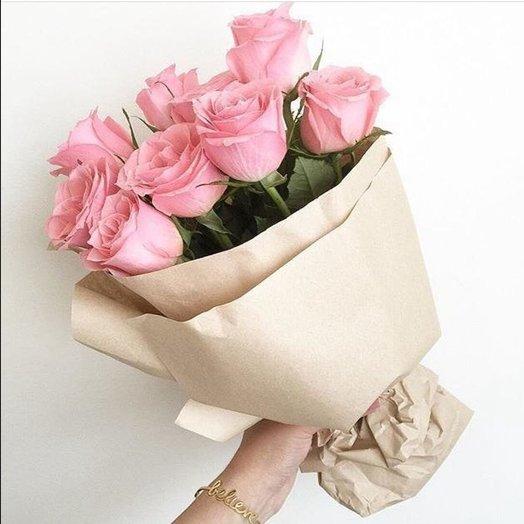 9 розовых роз: букеты цветов на заказ Flowwow