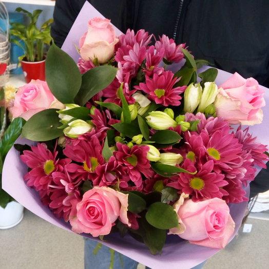 Букет из роз, хризантемы и альстромерии: букеты цветов на заказ Flowwow
