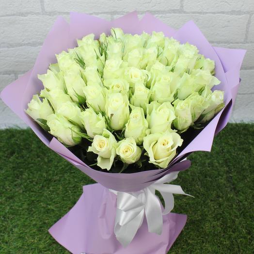 "51 белая роза ""Мини"": букеты цветов на заказ Flowwow"