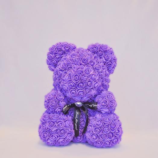Мишка из роз RozaRose Сиреневый - 40 см