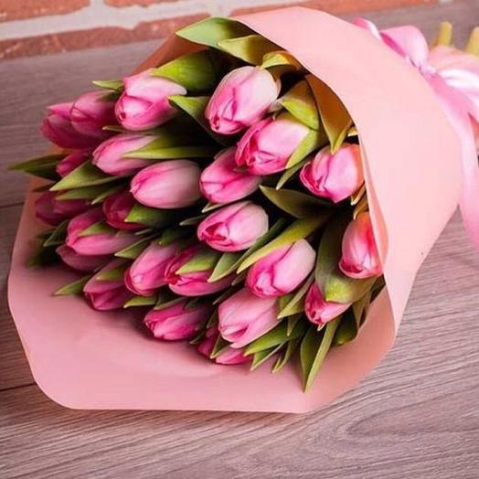 25 тюльпанов в крафте: букеты цветов на заказ Flowwow