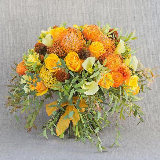 "Большой букет ""Янтарь"": букеты цветов на заказ Flowwow"