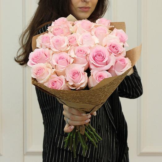 """Букет из """"21 розовой премиум розы"""": букеты цветов на заказ Flowwow"""
