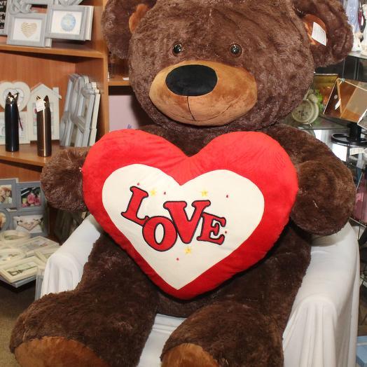 Медведь Валентайн с сердцем 100 см: букеты цветов на заказ Flowwow