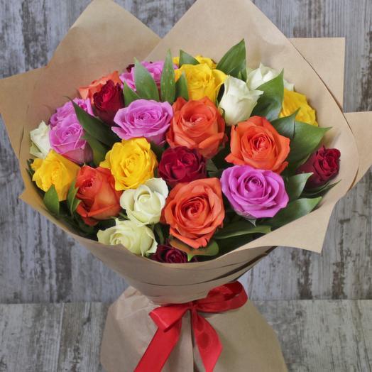 АКЦИЯ! 25 разноцветных роз: букеты цветов на заказ Flowwow
