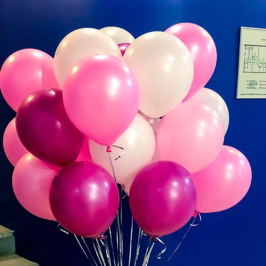 20 шаров с гелием в розовых тонах