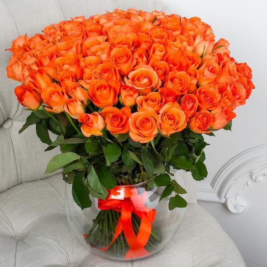 Букет 101 Мандариновая Роза