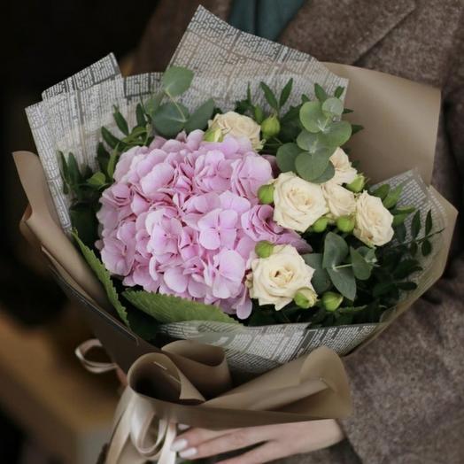Hydrangea and Bush roses