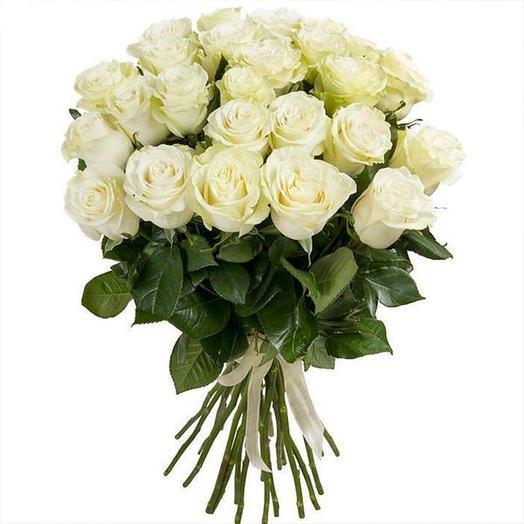 Букет из 25 белых эквадорских роз 50 см