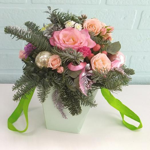 """Цветы в коробке """"Зимушка"""""""