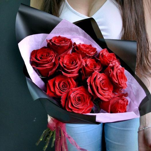 Монобукет из 11 красных роз