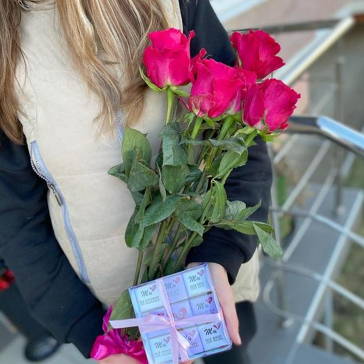Розы Эквадор + шокобокс ️