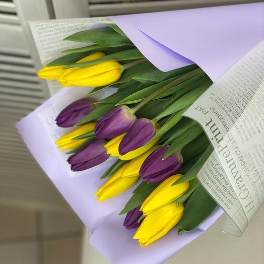 Микс Желтых и фиолетовых тюльпанов