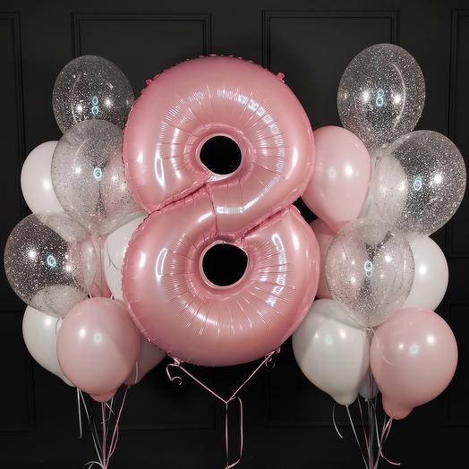 Композиция из бело розовых и прозрачных шаров с розовой цифрой