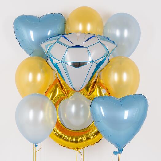 """Набор шаров """"Кольцо с бриллиантом"""" голубой"""