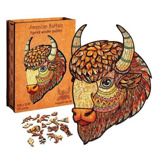Фигурный деревянный пазл ручной работы Американский бизон