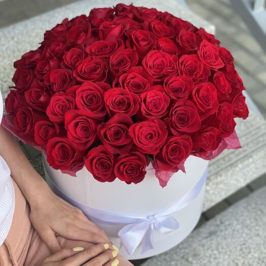 Коробка Фридом из красных роз