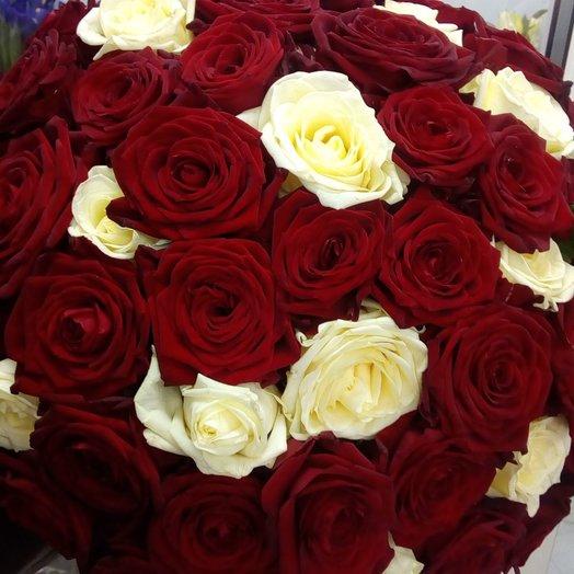 51 роза красная белая: букеты цветов на заказ Flowwow