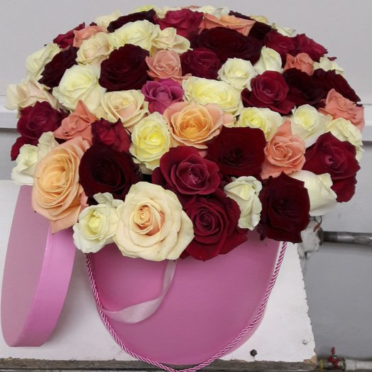 51  роза микс шляпной коробке