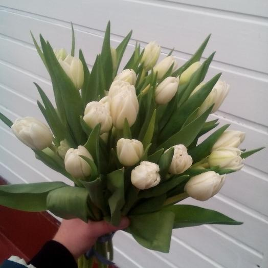 Букет из 21 белого тюльпана: букеты цветов на заказ Flowwow