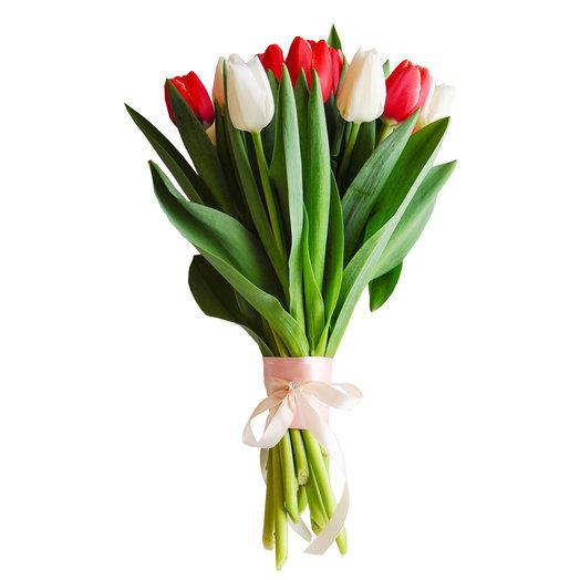 Букет из 10 разноцветных тюльпанов: букеты цветов на заказ Flowwow