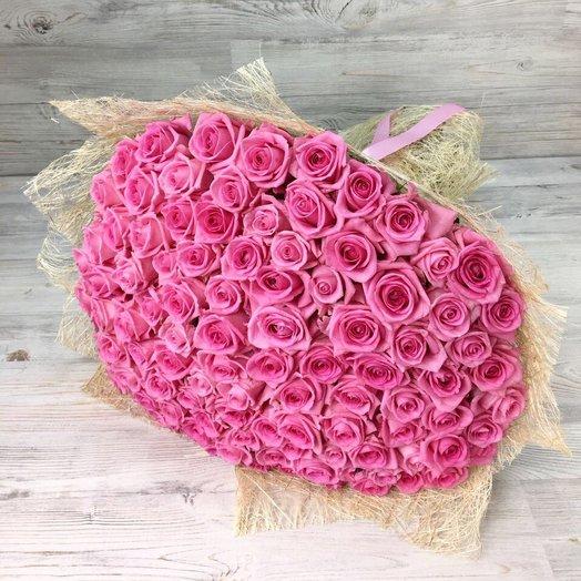 Букет из  101 розы ( 70 см ) Розовая N18
