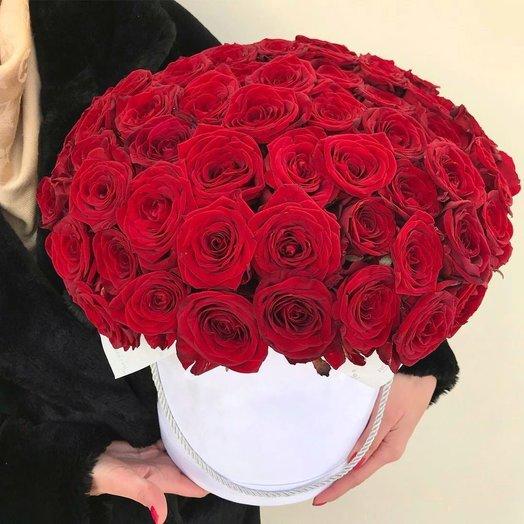 Шляпная коробка 51 роза: букеты цветов на заказ Flowwow