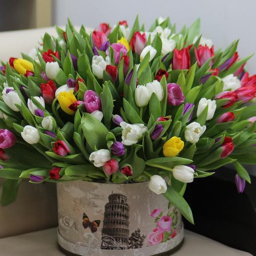 201 тюльпан микс в коробке: букеты цветов на заказ Flowwow