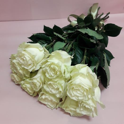 Для мамы 11 белых роз 60 см под ленту: букеты цветов на заказ Flowwow